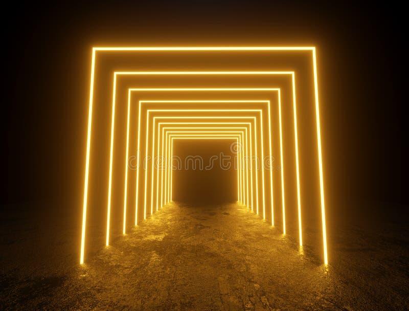 Iluminujący koloru żółtego kwadrat obramia przejście royalty ilustracja