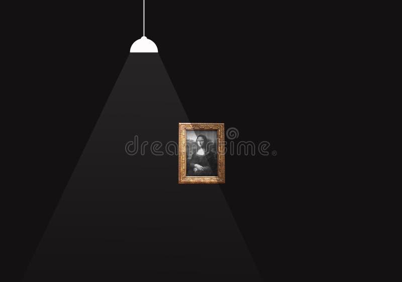 Iluminujący obrazek na ciemnej ścianie ilustracji