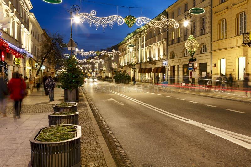 Iluminujący Pałacowy Tenement przy Nowy Swiat zdjęcie stock