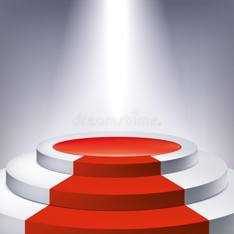Iluminujący podium, czerwony chodnik Nagradza piedestał, prezentacja stojak, wektorowy projekta przedmiot dla ciebie projekt royalty ilustracja