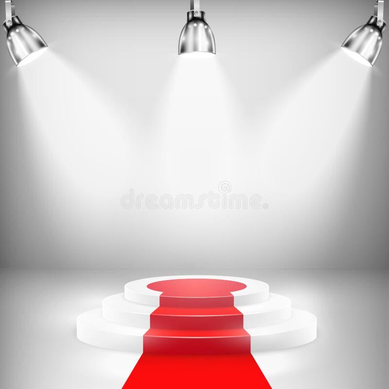 Iluminujący podium Z czerwonym chodnikiem ilustracja wektor
