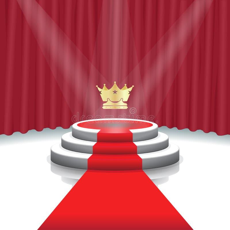 Iluminujący sceny podium z korony, czerwonego chodnika i zasłony tłem dla ceremonii wręczenia nagród, Wektorowa ilustracja ilustracji