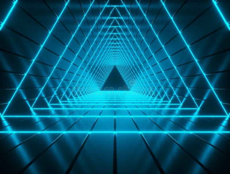 Iluminujący trójboka kształtny futurystyczny tunelowy tło royalty ilustracja