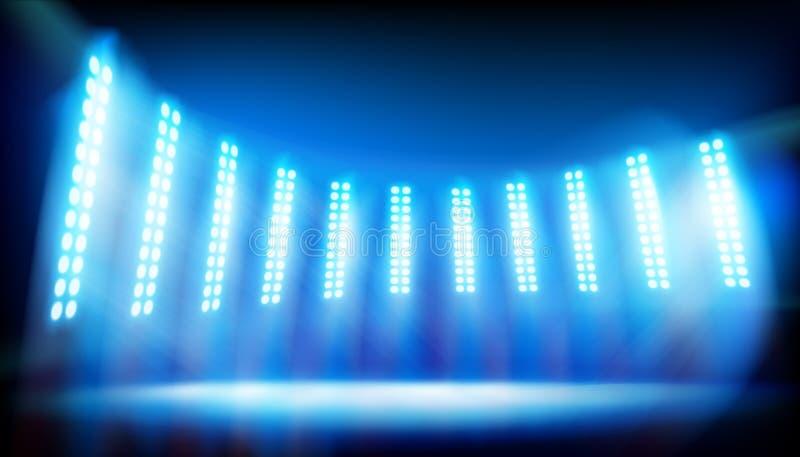 Iluminuj?ca scena na stadium niebieska t?a r?wnie? zwr?ci? corel ilustracji wektora ilustracja wektor