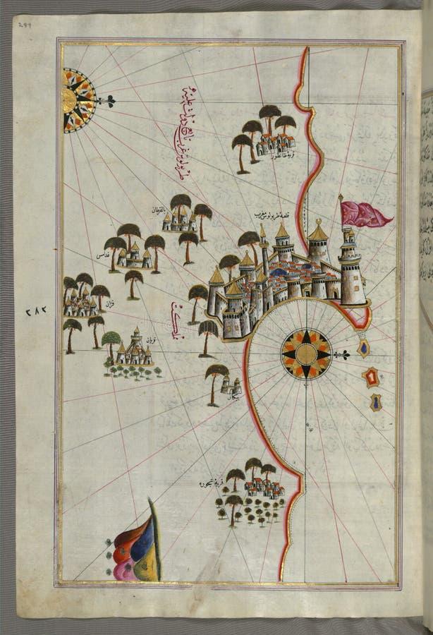 Iluminujący manuskrypt, mapa forteca Tripoli &-x28; á ¹ ¬arÄ  bulus-i Maghrib&-x29; i otaczający obszar od książki na Na fotografia royalty free