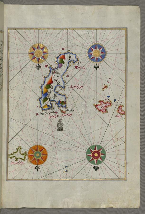 Iluminujący manuskrypt wyspa Amorgos &-x28; Yamurgi, Yamorki&-x29; w southeastern morzu egejskim od książki na nawigaci, zdjęcia stock