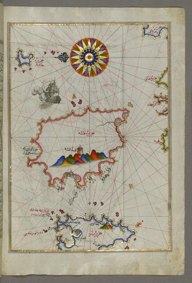 Iluminujący manuskrypt wyspa Naxos &-x28; NaḠ³ ÅŸe&-x29; w southeastern morzu egejskim od książki na nawigaci, Walters zdjęcie royalty free