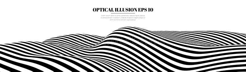 A ilusão ótica alinha o fundo Ilusões 3d preto e branco abstratas Ilustração do vetor do EPS 10 Abstraia ondas ilustração stock