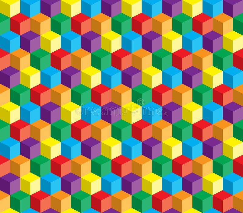 Ilusão ótica, cubo abstrato colorido do vetor ilustração royalty free