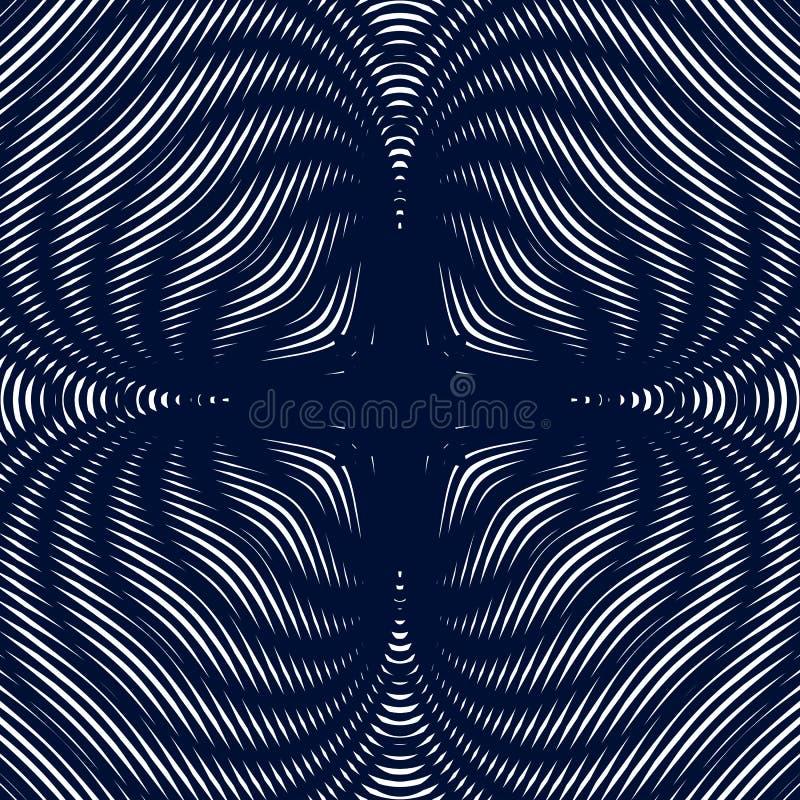 Ilusão ótica, ondeamento gráfico preto e branco criativo ilustração stock