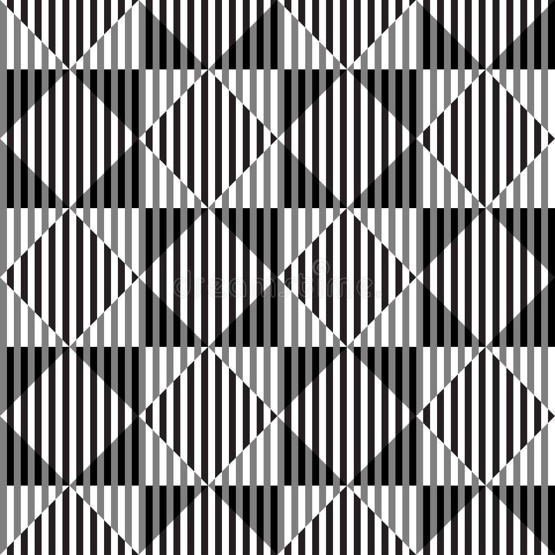 A ilusão ótica preto e branco, Vector o teste padrão sem emenda. ilustração do vetor