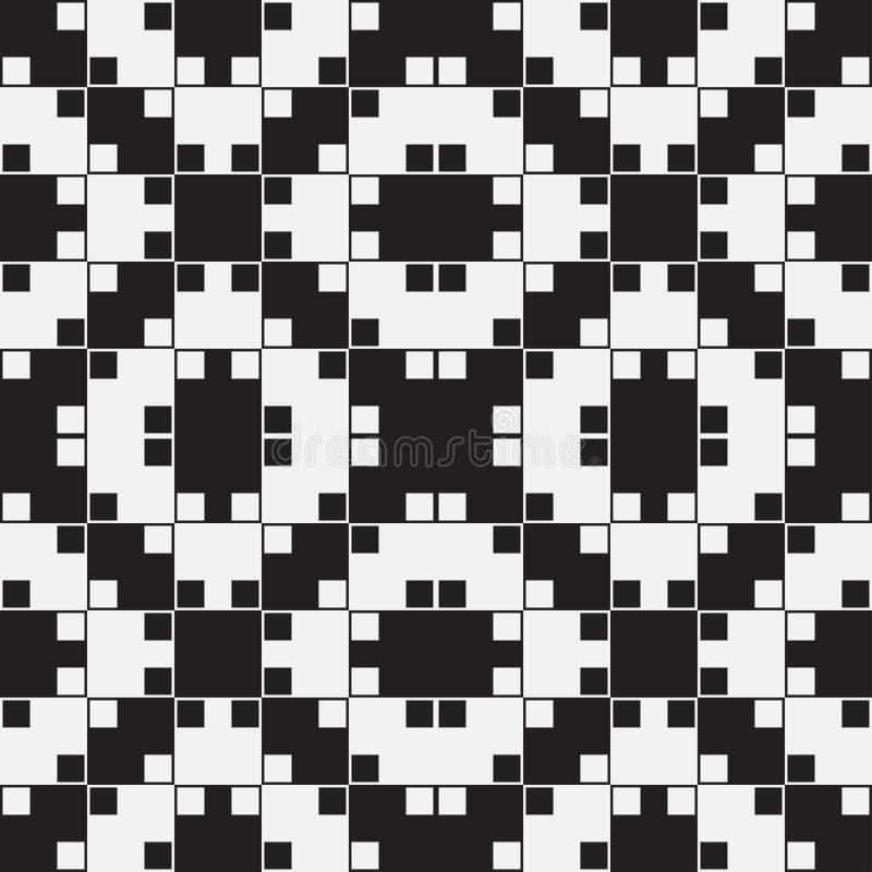 A ilusão ótica preto e branco, Vector o teste padrão sem emenda. ilustração stock