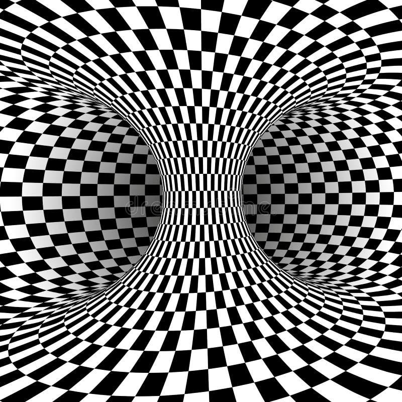Ilusão ótica quadrada preto e branco Fundo abstrato da ilusão Ilustração do vetor ilustração stock