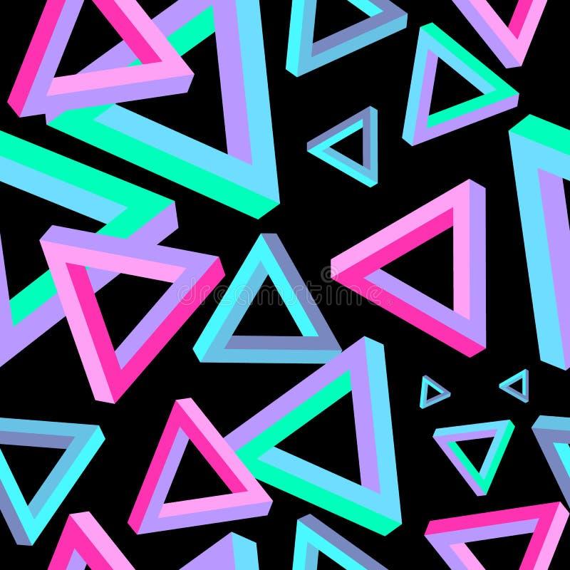 Ilusão ótica, teste padrão sem emenda do triângulo Triângulo Penrose Triângulo geométrico Dimensão do triângulo ilustração stock