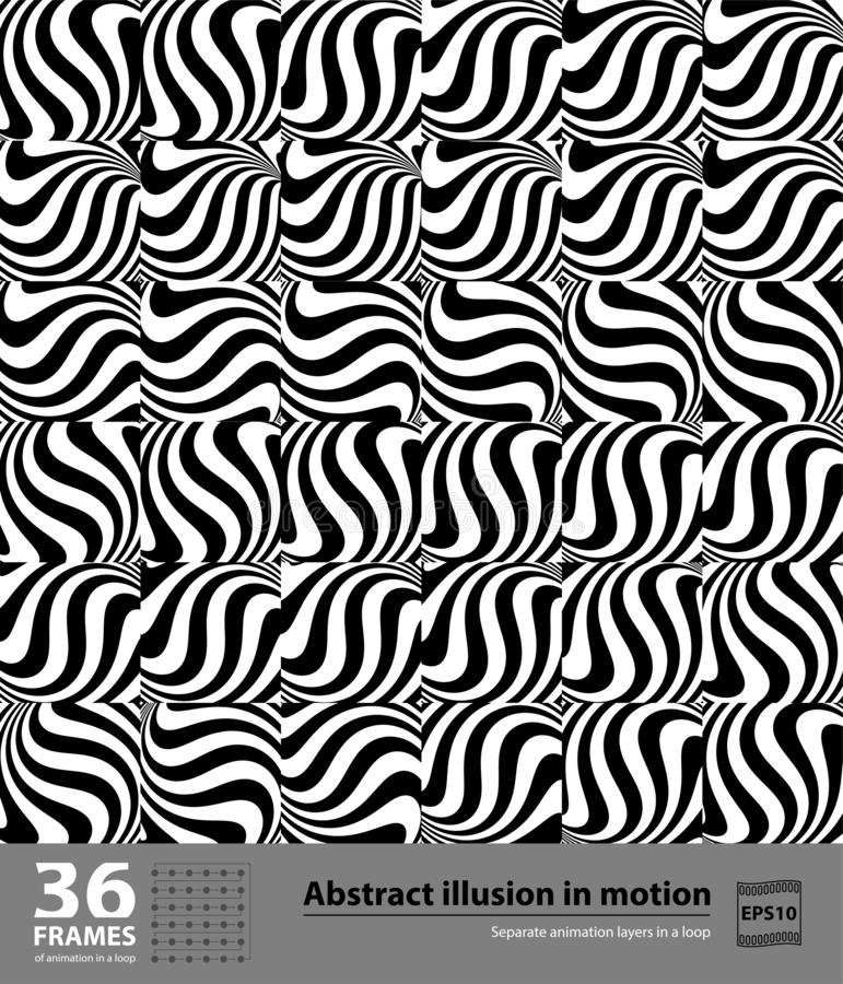 Ilusão abstrata no movimento 36 quadros Elemento preto e branco hipnótico no movimento Camadas separadas da animação em um laço ilustração do vetor