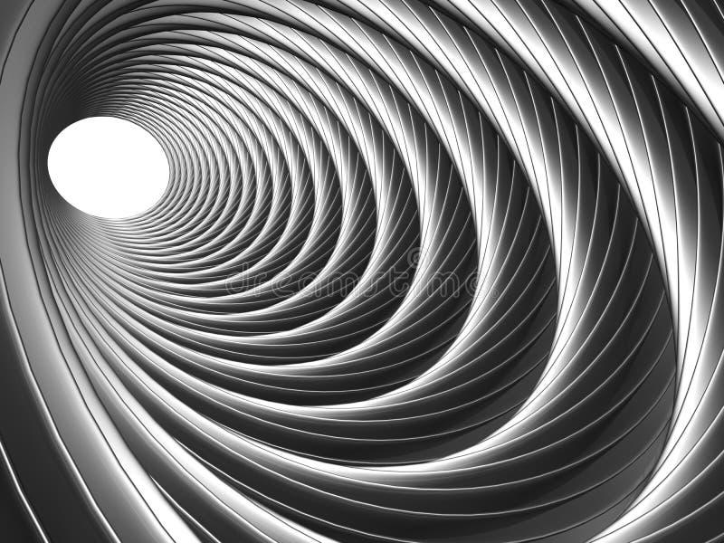 Ilusão de prata abstrata do sumário do efeito de túnel ilustração stock