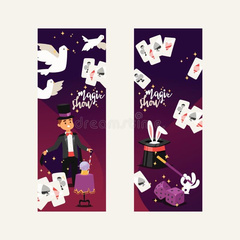 Ilusão mágica do homem da mostra do ilusionista do vetor do mágico ou illusionism mágico na pessoa do contexto e do personagem de ilustração do vetor