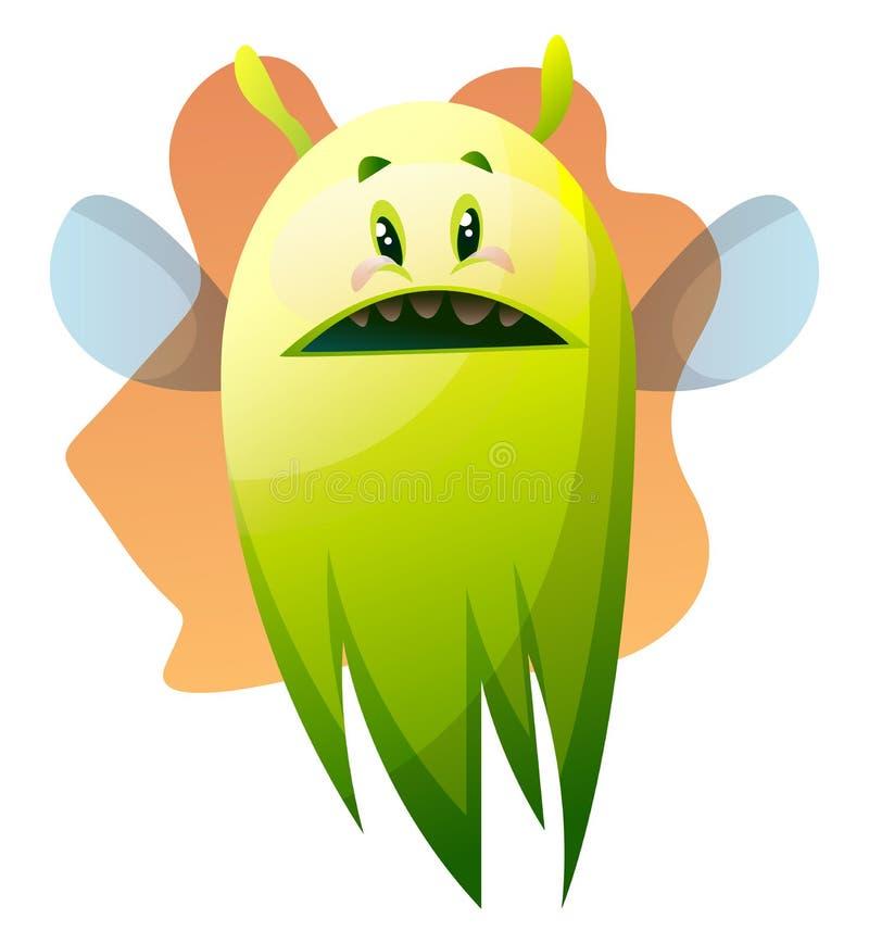 Ilusão preocupada do vetor monstro verde de desenho animado ilustração stock