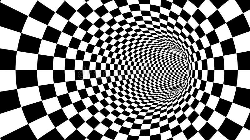 Ilusão preto e branco ótica do túnel ilustração stock