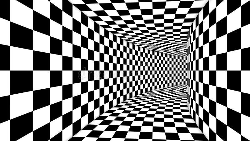Ilusão preto e branco do quadrado ótico ilustração do vetor