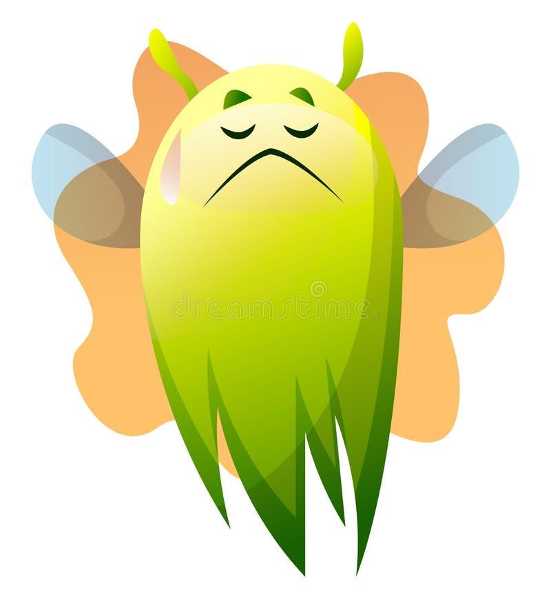 Ilusão tristes do vetor monstro verde de desenho ilustração royalty free