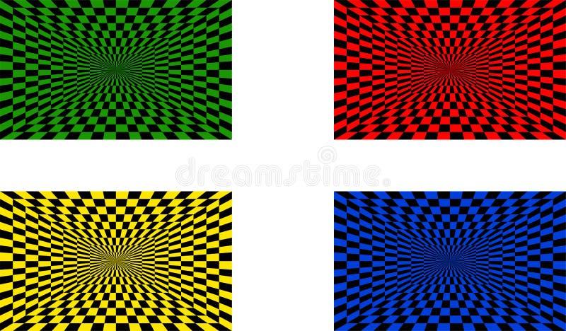 Ilusões óticas ajustadas de quatro ilustração do vetor