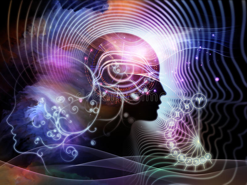 Ilusões da mente humana ilustração do vetor