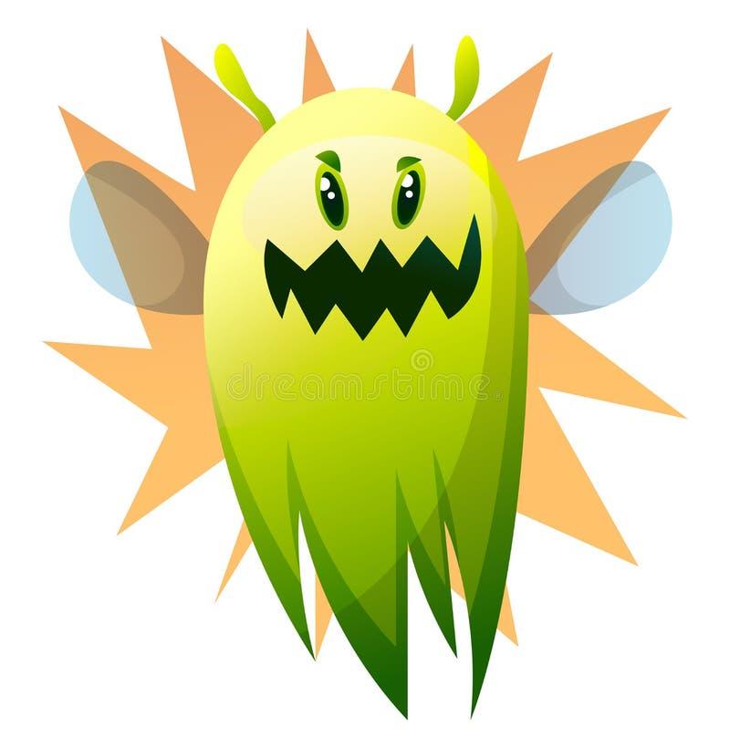 Ilusões sorridentes do vetor monstro verde de desenho animado ilustração royalty free