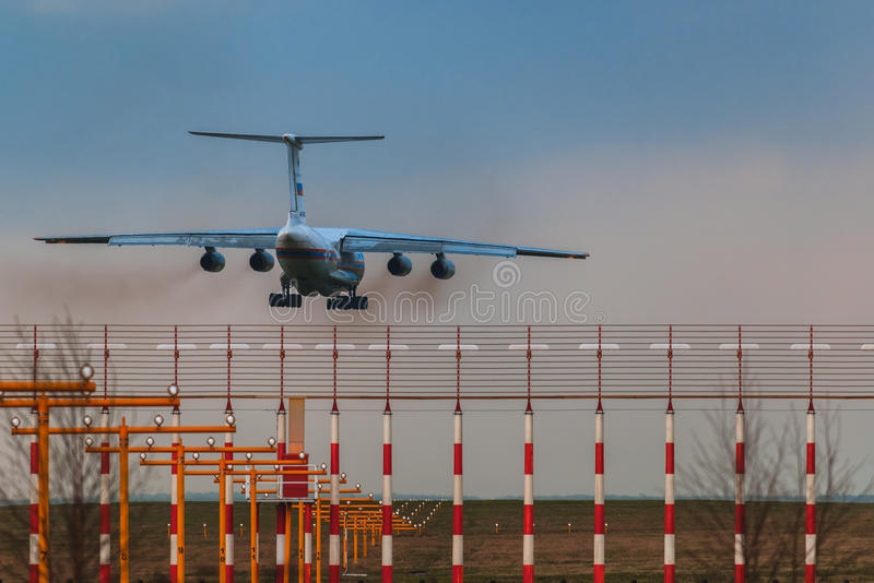 Ilushin Il-76 TD Ministry of Emergency Situations of the Russian Federation. Landing at Moscow's Domodedovo airport in a thunderstorm stock photo