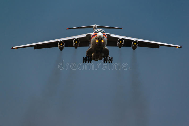 Ilushin Il-76 TD Ministry of Emergency Situations of the Russian Federation. Landing at Moscow's Domodedovo airport in a thunderstorm royalty free stock images