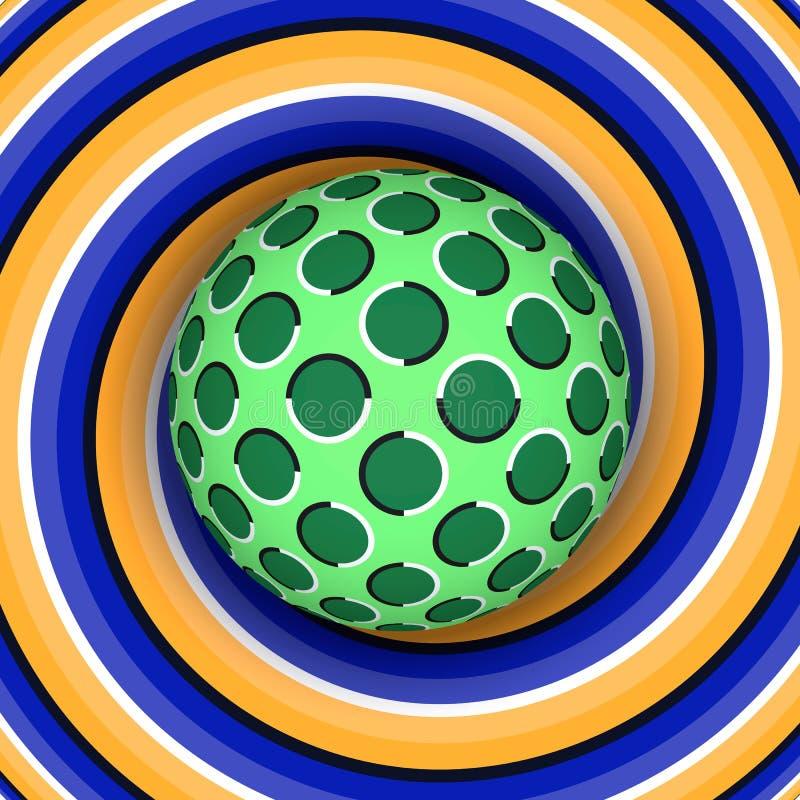 Ilusión óptica de la rotación de la bola contra la perspectiva de un espiral móvil libre illustration