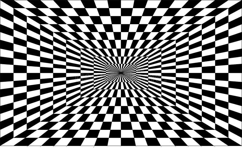 Ilusión óptica fresca perspectiva del Uno-punto en negro fotografía de archivo libre de regalías