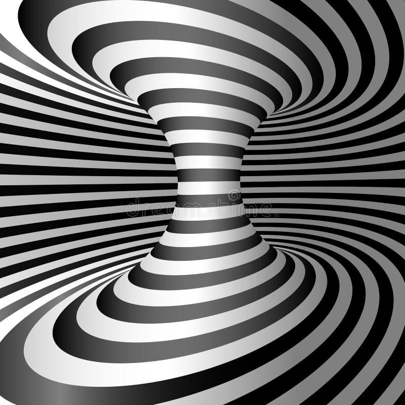 Ilusión óptica - Wormhole 3d abstracto rayó la ilusión Diseño de fondo de la ilusión óptica Ilustración del vector stock de ilustración
