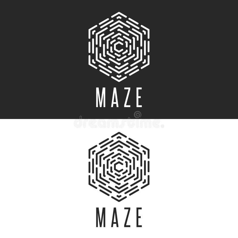 Ilusión del cubo del logotipo del laberinto, línea fina icono de la tecnología del símbolo del laberinto, insignias blancos y neg stock de ilustración