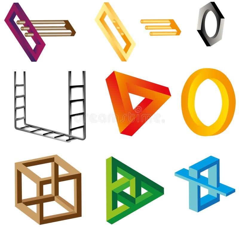 Ilusiones (objetos irreales) stock de ilustración