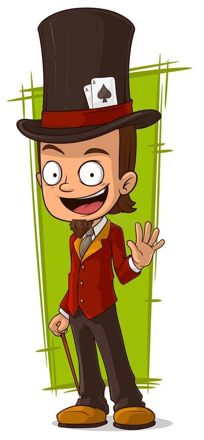 Ilusionista feliz dos desenhos animados em altivo ilustração stock