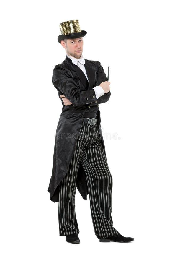 Ilusionista Shows Tricks com uma varinha mágica foto de stock royalty free