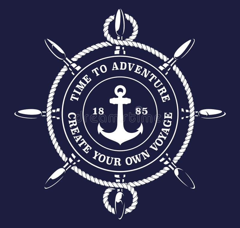 Ilustração do vetor de uma corda da roda dos ship's no fundo escuro ilustração royalty free