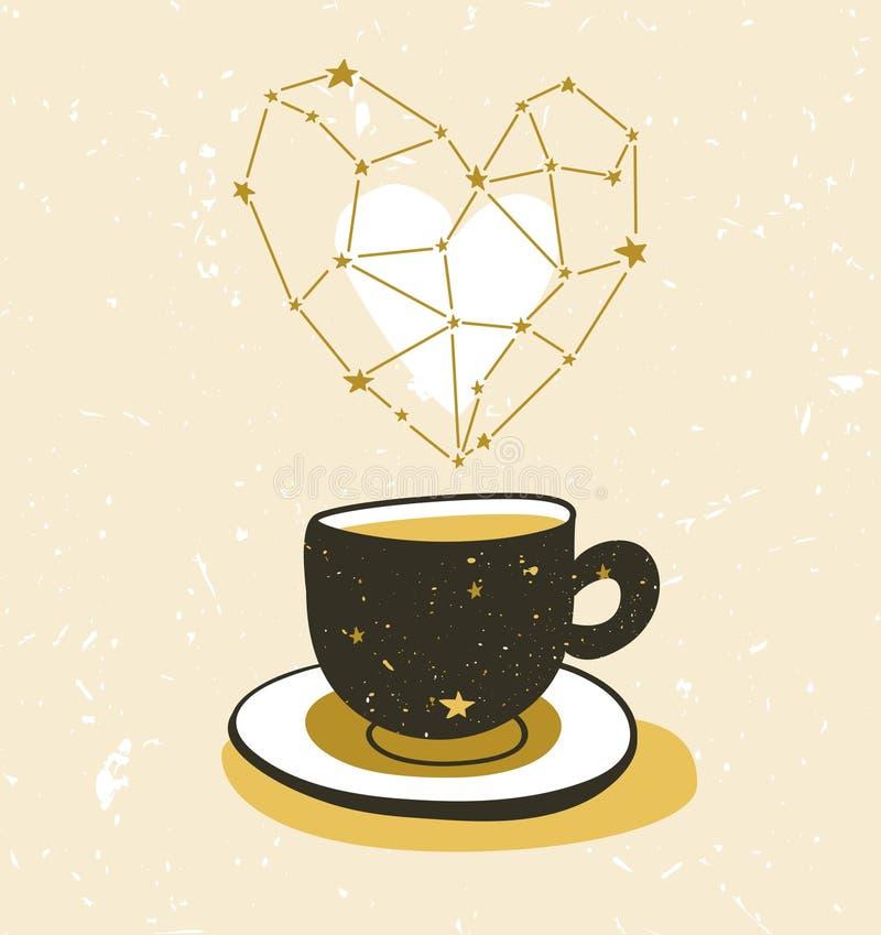 Ilustração à moda com o copo do chá ou do café Projeto do cartaz do moderno ilustração royalty free