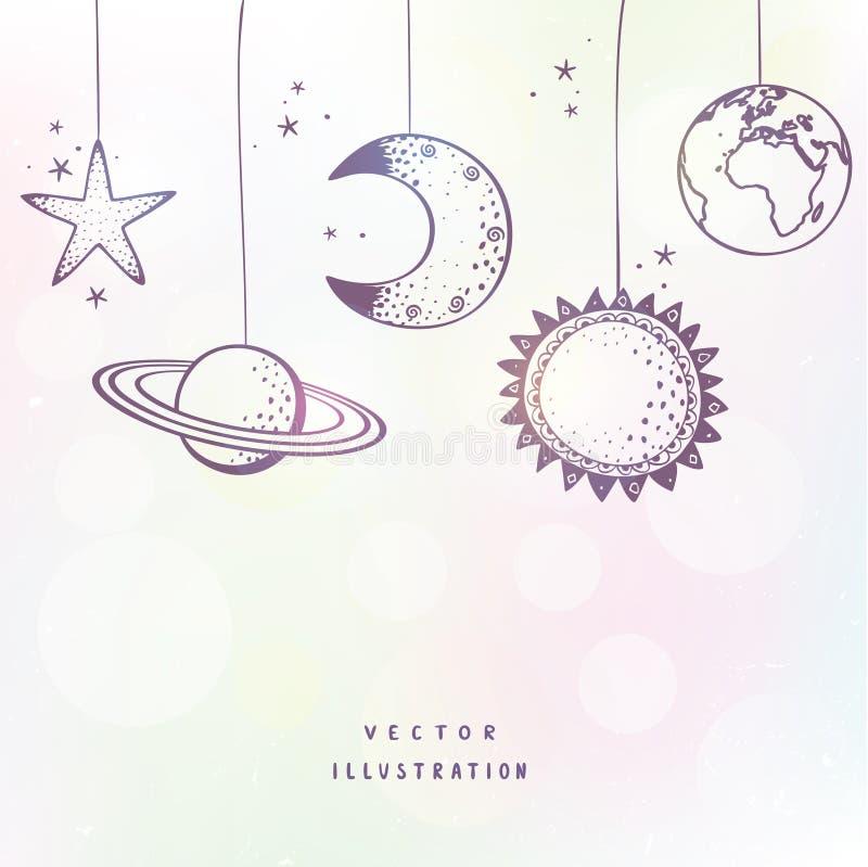 Ilustração à moda do planeta ilustração stock