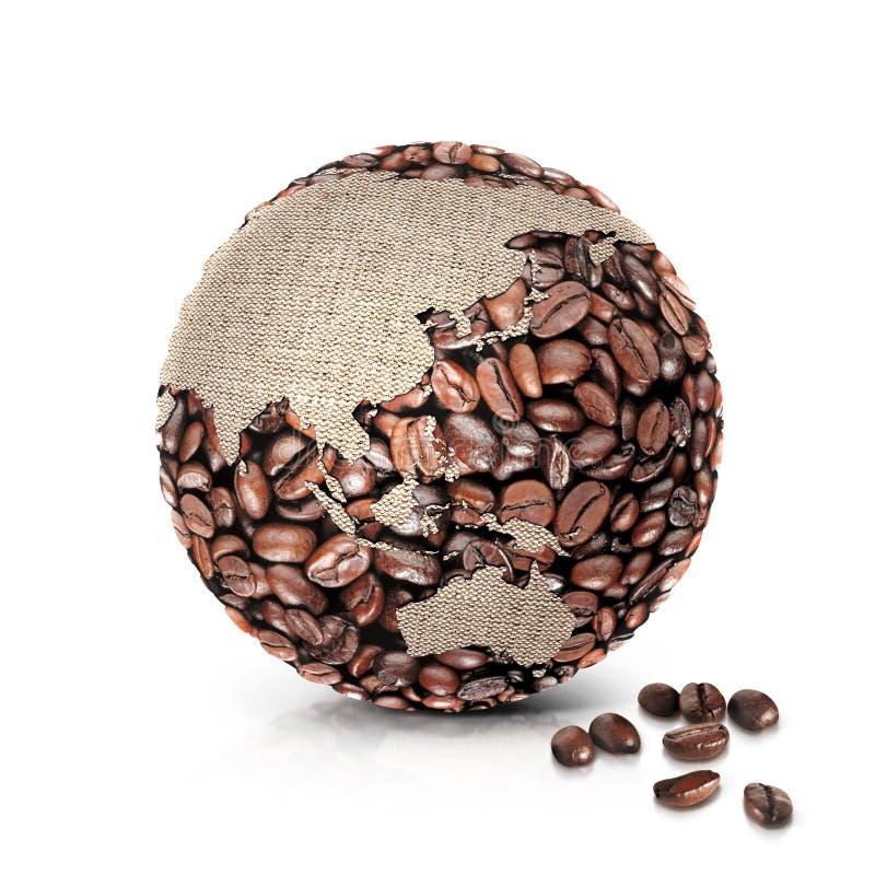 A ilustração Ásia e Austrália do mundo 3D do café traça ilustração do vetor