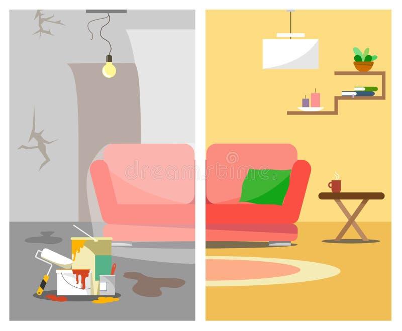 A ilustração é apresentada em duas imagens com o reparo da casa antes e depois ao estilo do plano ilustração do vetor