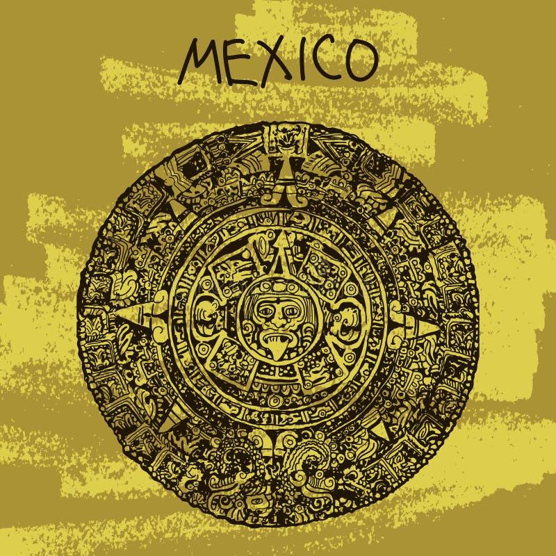 Ilustração étnica do vetor Série mundialmente famosa do marco: México, Maya Calendar, Maya Boa vinda a México ilustração royalty free