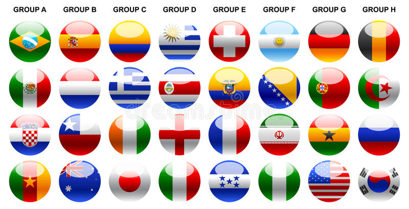 Ilustração-ícones do campeonato do mundo 2014 das bandeiras ajustados
