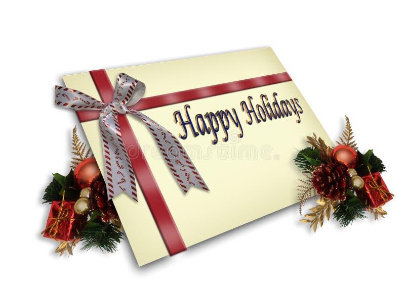 Ilustração 3D do cartão do presente do Natal ilustração stock