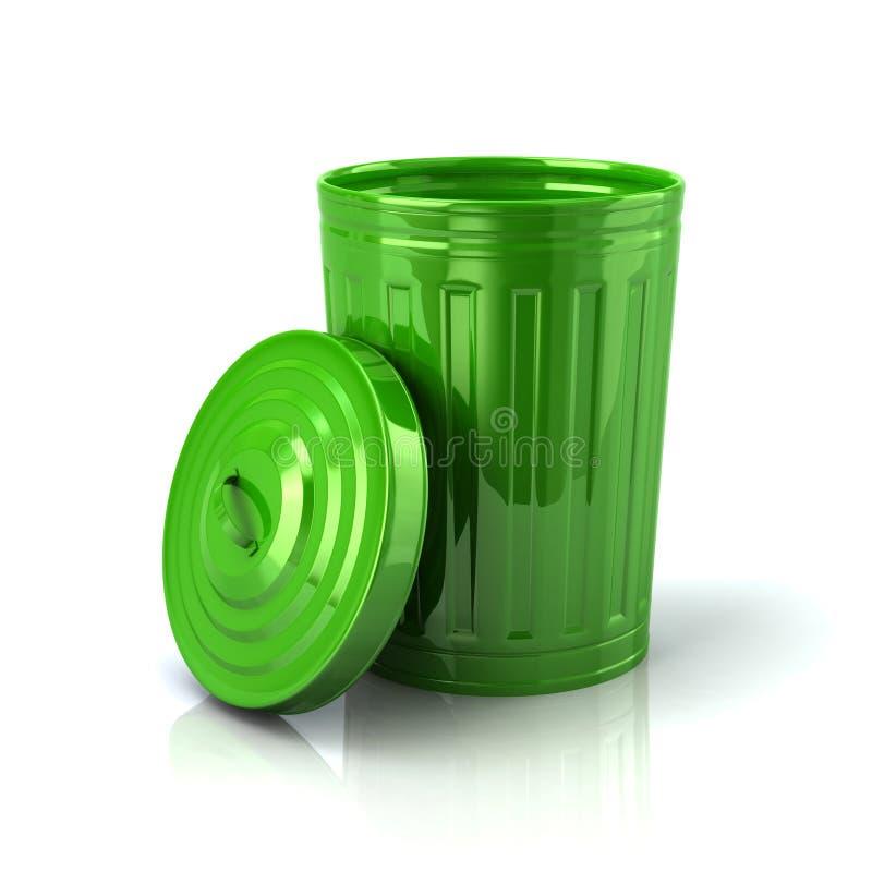 Ilustração aberta do balde do lixo 3d do verde ilustração royalty free
