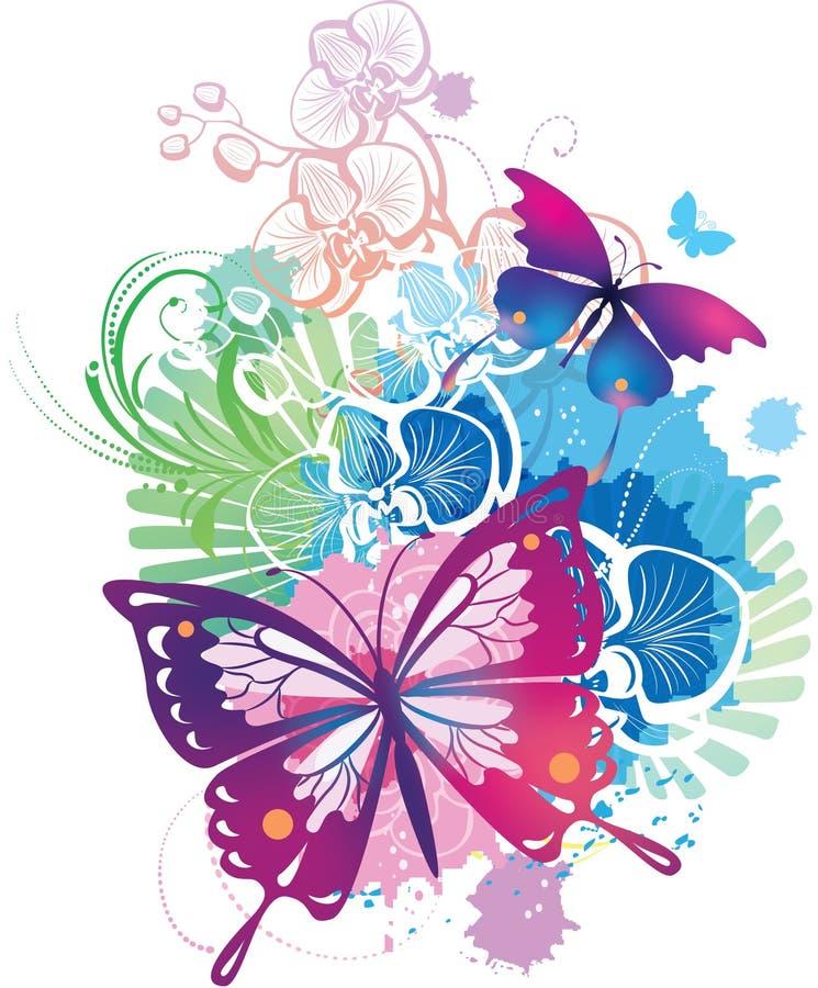 Ilustração abstrata com borboletas ilustração do vetor