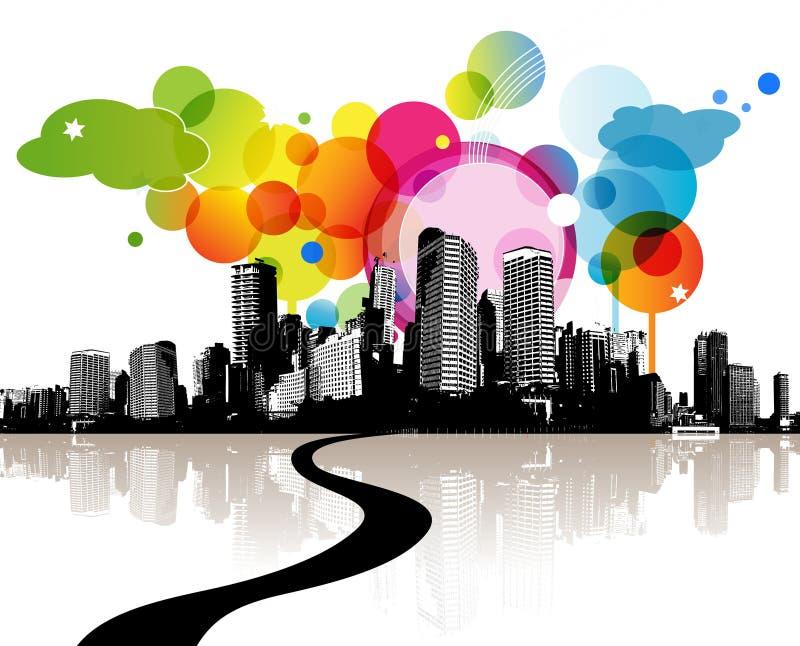 Ilustração abstrata com cidade. ilustração royalty free