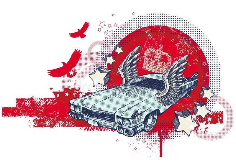 Ilustração abstrata com o carro retro voado ilustração royalty free