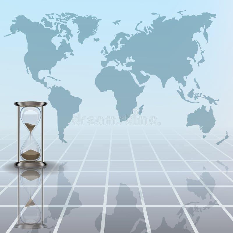 Ilustração abstrata com o mapa do hourglass e da terra ilustração stock